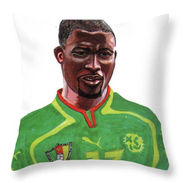 Marc Vivien Foe Throw Pillow by Emmanuel Baliyanga