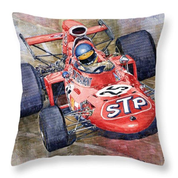 March 711 Ford Ronnie Peterson GP Italia 1971 Throw Pillow by Yuriy  Shevchuk