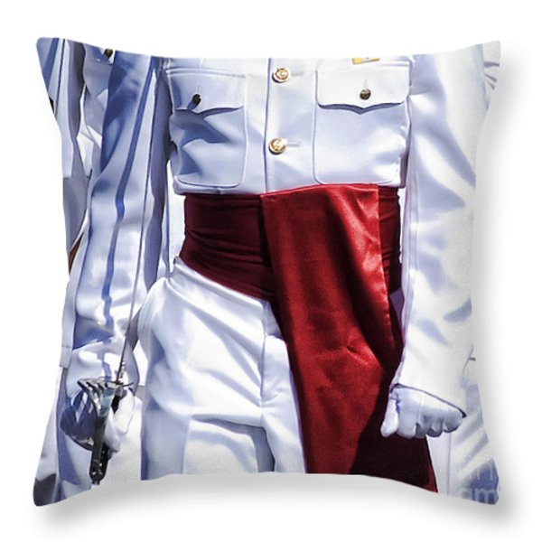 Marching Mardi Gras Marines Throw Pillow by Kathleen K Parker