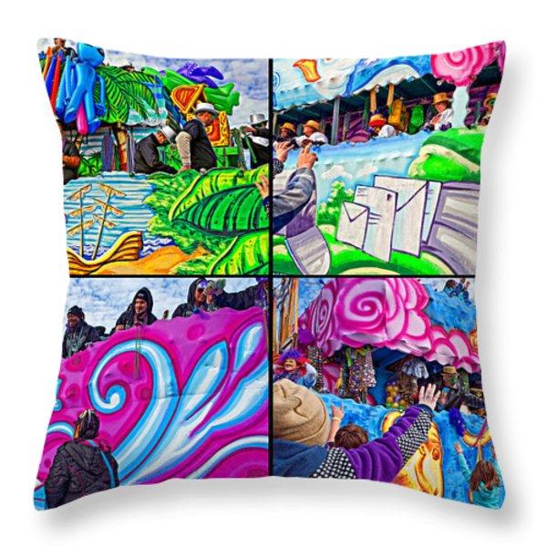 Mardi Gras Fun Throw Pillow by Steve Harrington