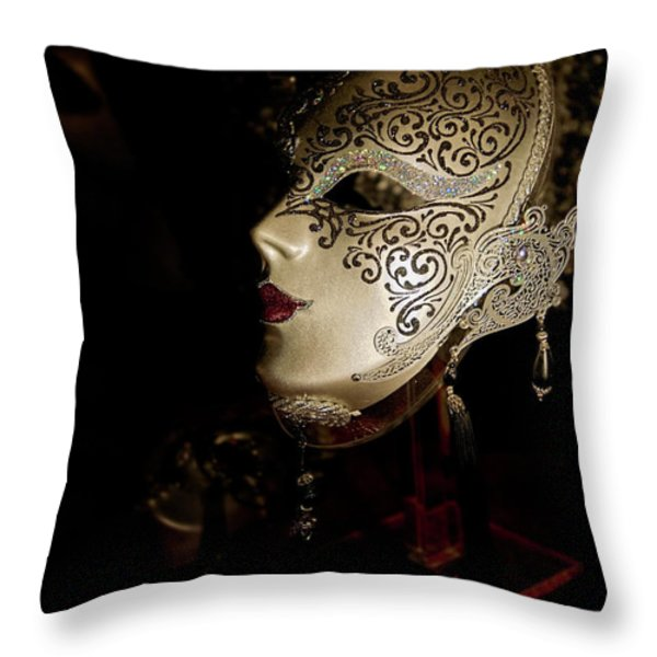 Mardi Gras Mask Throw Pillow by Christopher Holmes