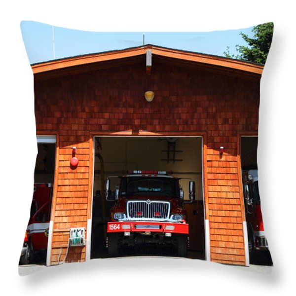 Marin County Fire Department . Point Reyes California . 7D15920 Throw Pillow by Wingsdomain Art and Photography