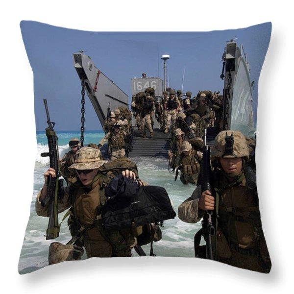 Marines Disembark A Landing Craft Throw Pillow by Stocktrek Images