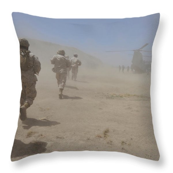 Marines Move Through A Dust Cloud Throw Pillow by Stocktrek Images