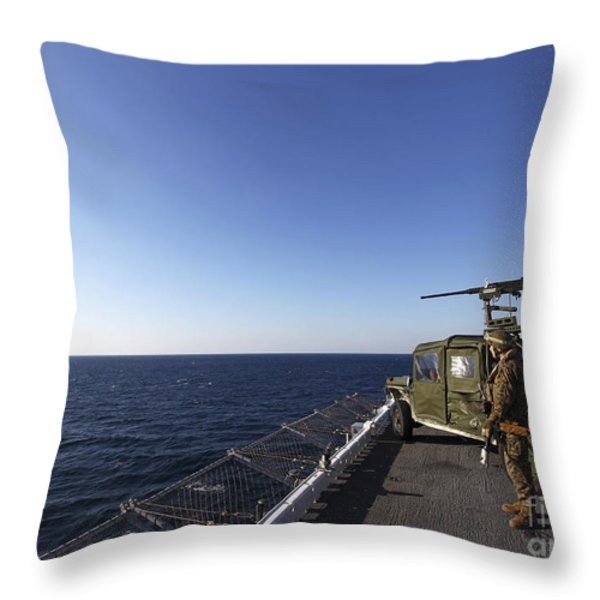 Marines Provide Defense Security Throw Pillow by Stocktrek Images