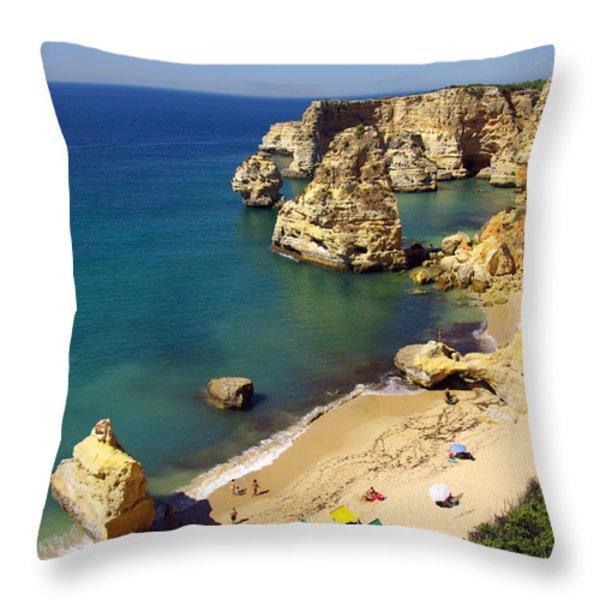 Marinha Beach Throw Pillow by Carlos Caetano