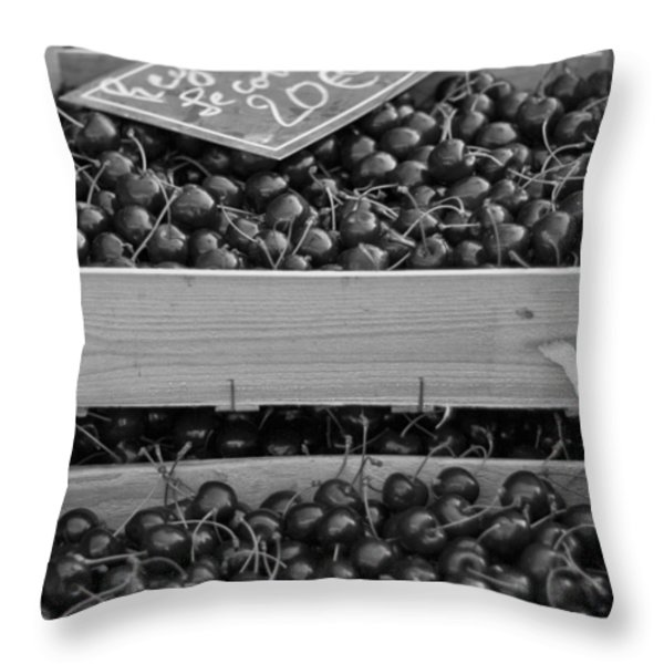 Market Cherries Throw Pillow by Nomad Art And  Design