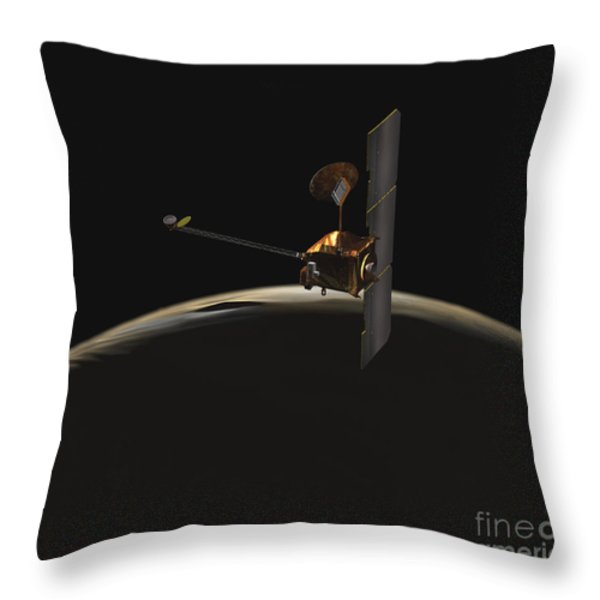 Mars Odyssey Spacecraft Over Martian Throw Pillow by Stocktrek Images