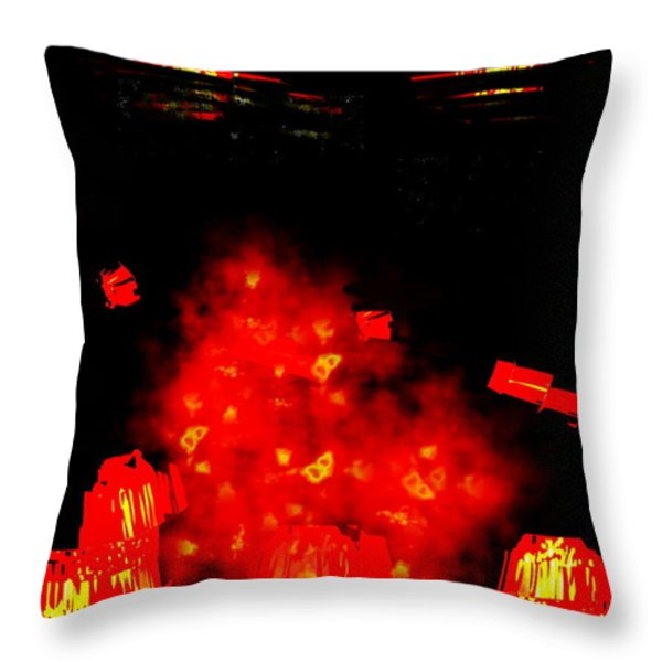 Mars Space Junk Mishap Throw Pillow by Steamy Raimon