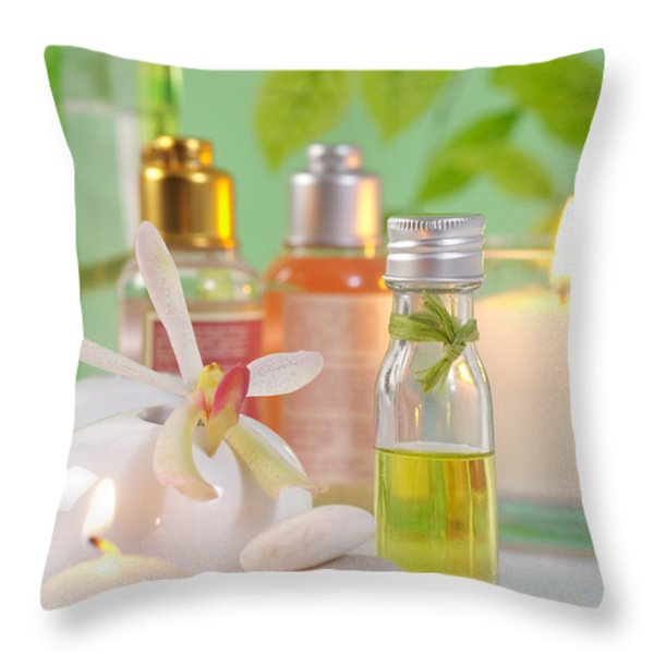 Massage Spa Concepts Throw Pillow by ATIKETTA SANGASAENG