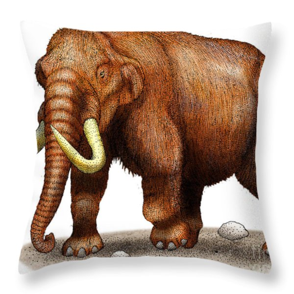 Mastodon Throw Pillow by Roger Hall and Photo Researchers