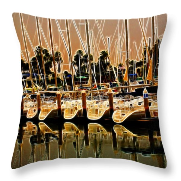 Masts Throw Pillow by Cheryl Young