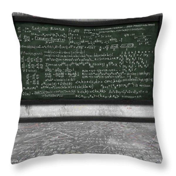 Maths Formula On Chalkboard Throw Pillow by Setsiri Silapasuwanchai