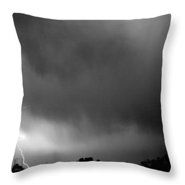 May Showers 3 In Bw - Lightning Thunderstorm 5-10-2011 Boulder C Throw Pillow by James BO  Insogna