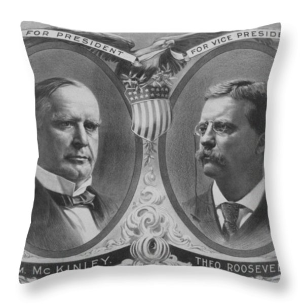 McKinley and Roosevelt Election Poster Throw Pillow by War Is Hell Store
