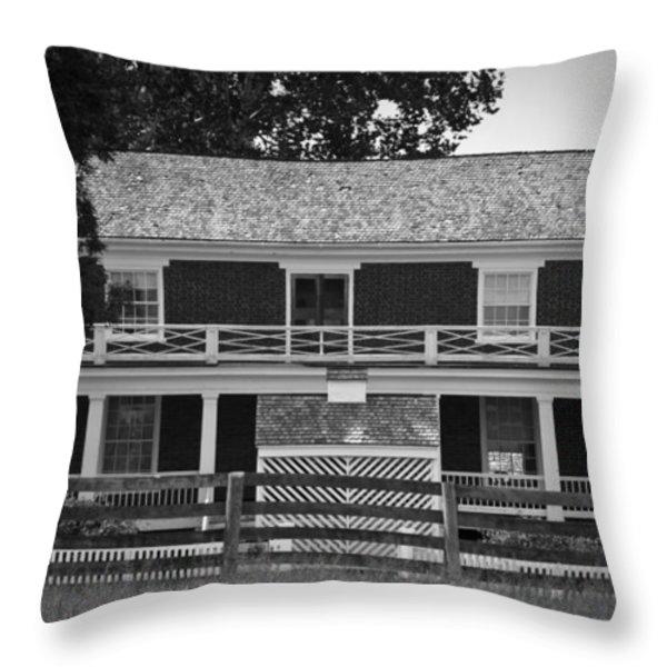 Mclean House Bw Appomattox Virgnia Throw Pillow by Teresa Mucha