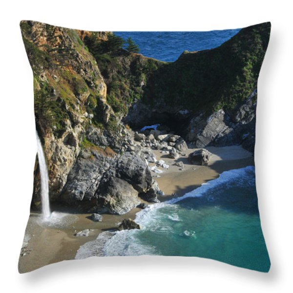 Mcway Falls Throw Pillow by Lynn Bauer