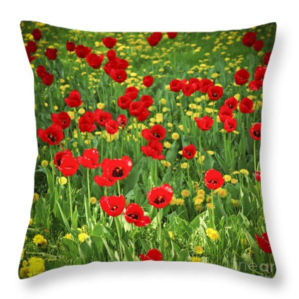 Meadow with tulips Throw Pillow by Elena Elisseeva
