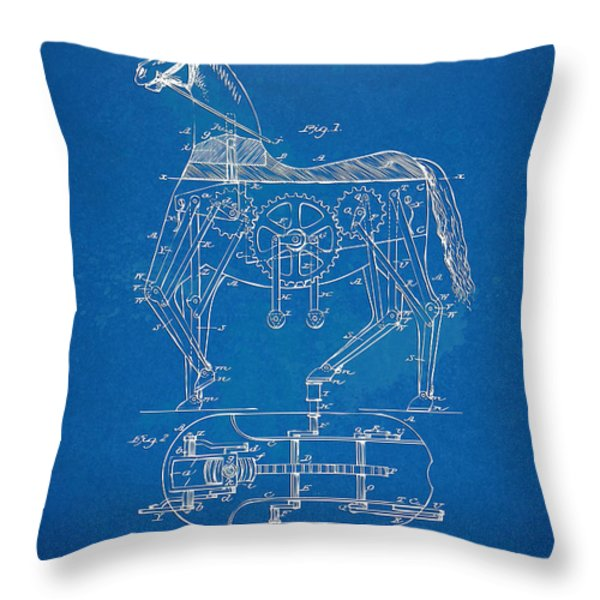 Mechanical Horse Toy Patent Artwork 1893 Throw Pillow by Nikki Marie Smith
