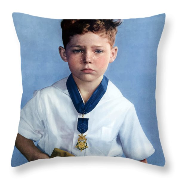 Medal Of Honor Child  Throw Pillow by War Is Hell Store