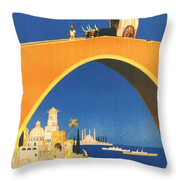 Mediterranean Cruising Throw Pillow by Nomad Art And  Design