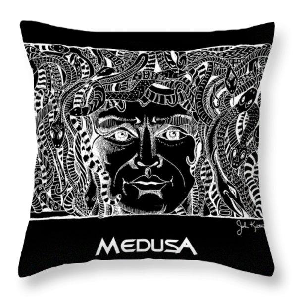 Medusa Design Throw Pillow by John Keaton