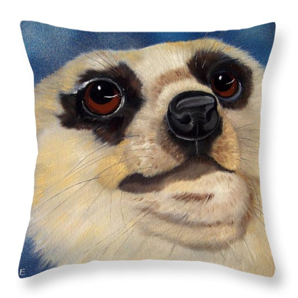 Meerkat Eyes Throw Pillow by Debbie LaFrance