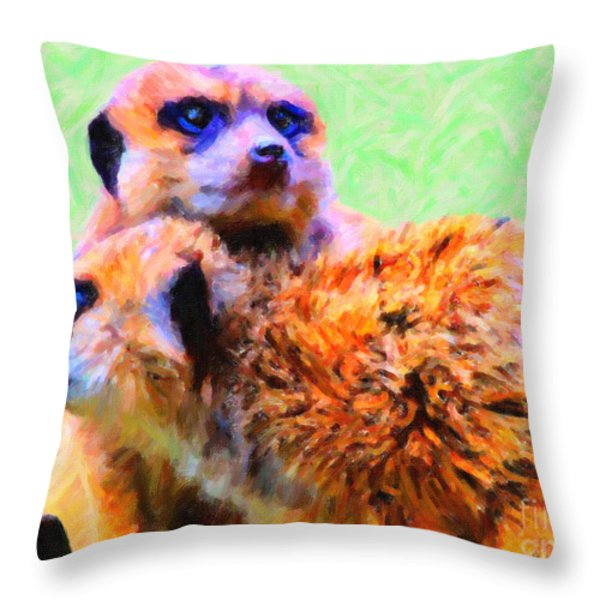 Meerkats . 7d4176 Throw Pillow by Wingsdomain Art and Photography