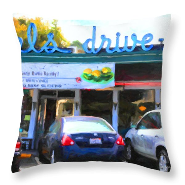 Mel's Drive-in Diner In San Francisco - 5d18014 - Painterly Throw Pillow by Wingsdomain Art and Photography