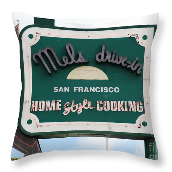 Mel's Drive-in Diner Sign In San Francisco - 5d18046 Throw Pillow by Wingsdomain Art and Photography
