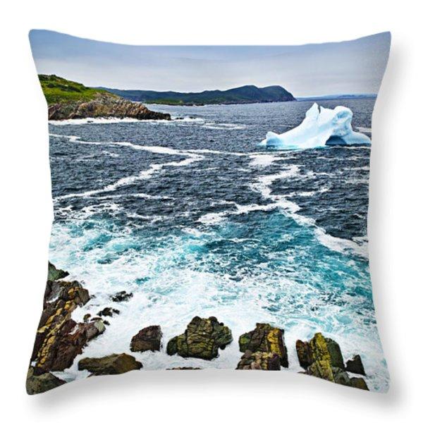 Melting Iceberg In Newfoundland Throw Pillow by Elena Elisseeva