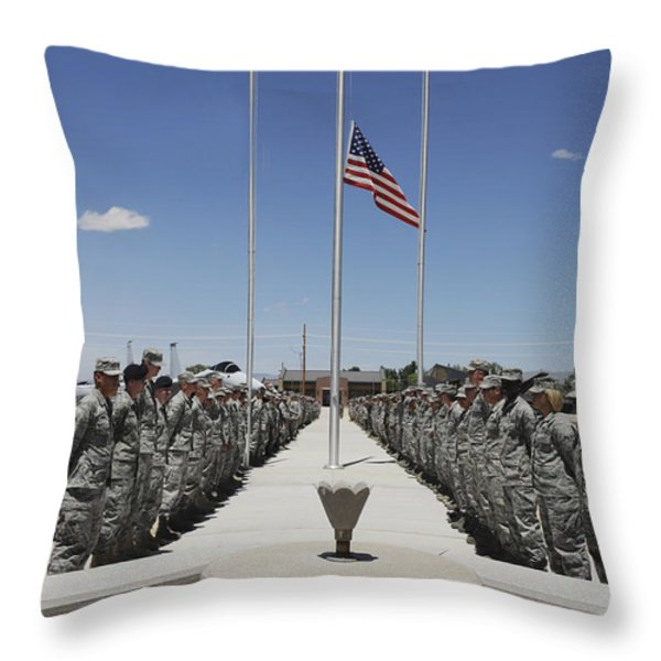 Members Of Team Holloman Stand Throw Pillow by Stocktrek Images
