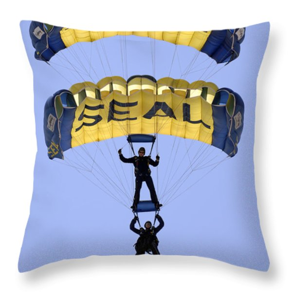 Members Of The U.s. Navy Parachute Throw Pillow by Stocktrek Images