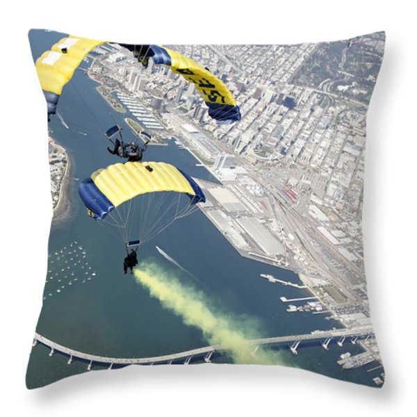 Members Of The U.s. Navy Parachute Team Throw Pillow by Stocktrek Images