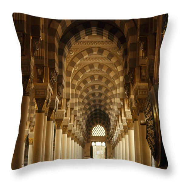 Men Pray On Rugs Or Read Korans Throw Pillow by Thomas J. Abercrombie