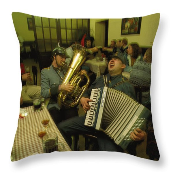 Men Sing Satirical Songs Of Austrias Throw Pillow by James L. Stanfield