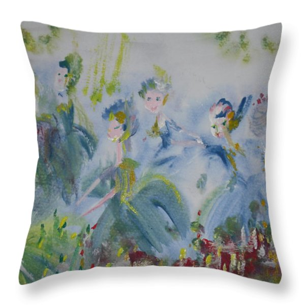 Merry Waltz Throw Pillow by Judith Desrosiers