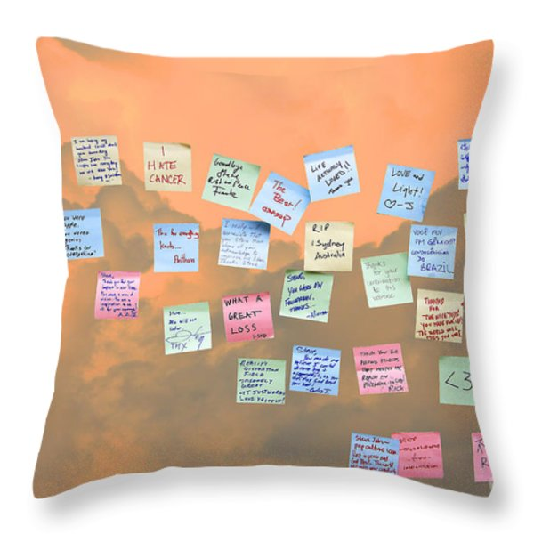 Messages in The Cloud . RIP Mr Steve Jobs . October 5 2011 . You Will Surely Be Missed Throw Pillow by Wingsdomain Art and Photography