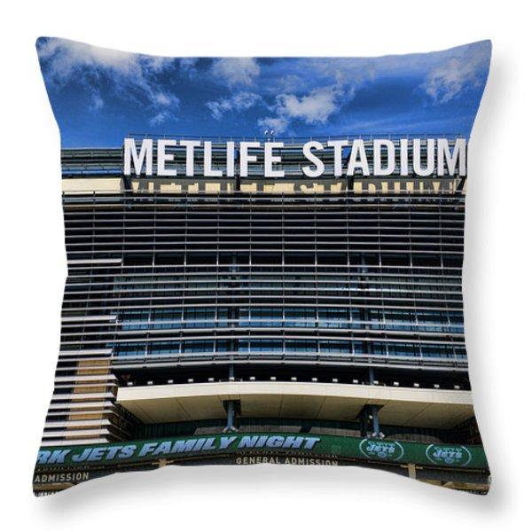 Metlife Stadium Throw Pillow by Paul Ward
