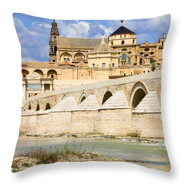 Mezquita Cathedral and Roman Bridge in Cordoba Throw Pillow by Artur Bogacki