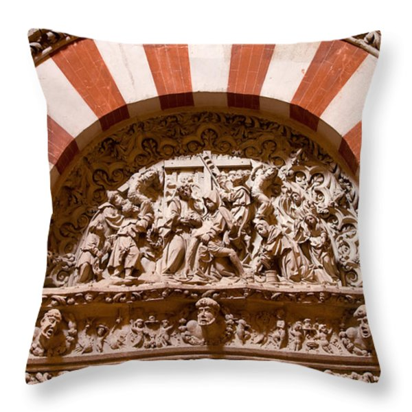 Mezquita Cathedral Religious Carving Throw Pillow by Artur Bogacki