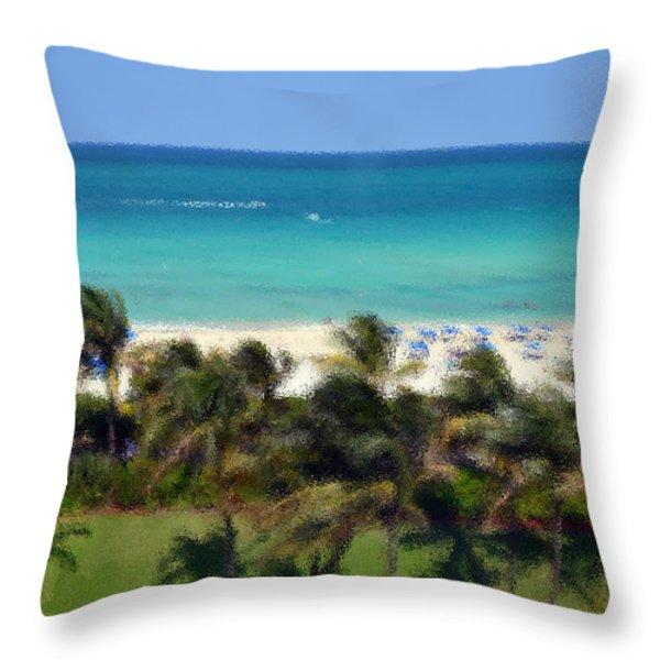 Miami Beach Throw Pillow by Pravine Chester