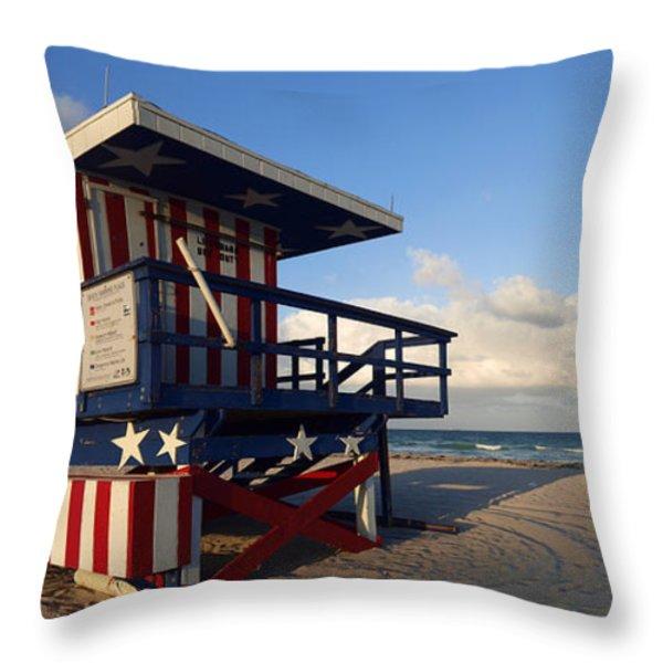 Miami Beach Watchtower Throw Pillow by Melanie Viola