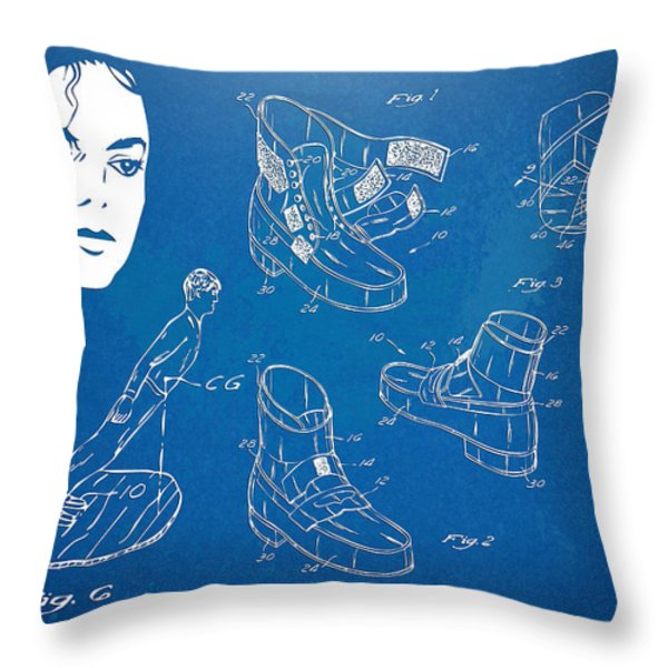 Michael Jackson Anti-Gravity Shoe Patent Artwork Throw Pillow by Nikki Marie Smith
