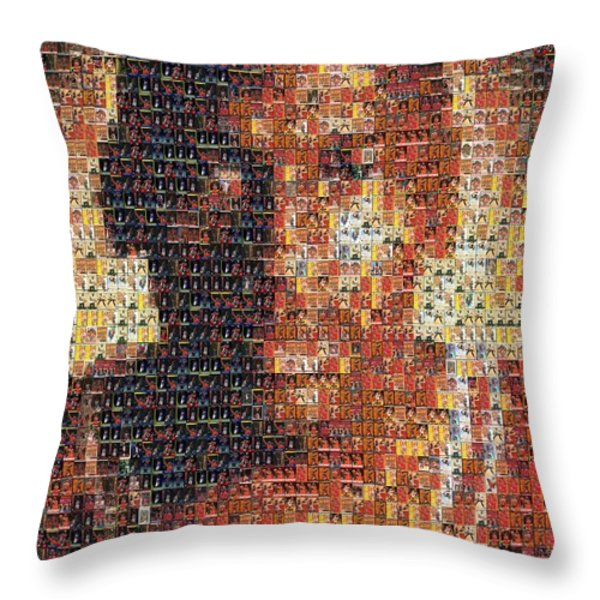Michael Jordan Card Mosaic 1 Throw Pillow by Paul Van Scott