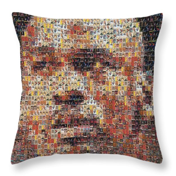 Michael Jordan Card Mosaic 3 Throw Pillow by Paul Van Scott