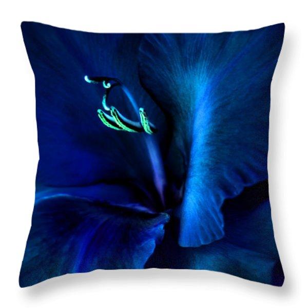 Midnight Blue Gladiola Flower Throw Pillow by Jennie Marie Schell