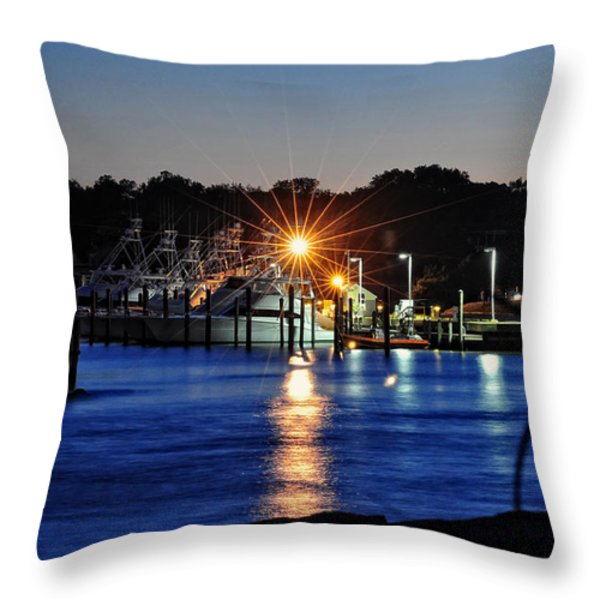 Midnight Marina Throw Pillow by Tazz Anderson