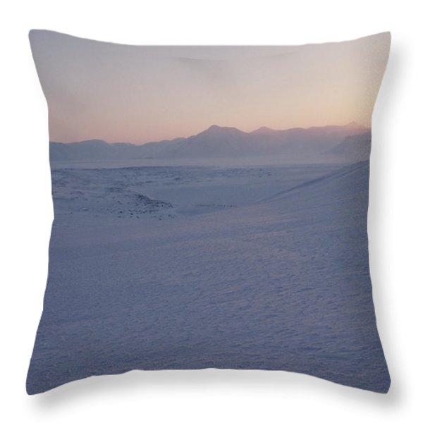Midnight Sun Hovers Above Polar Throw Pillow by Gordon Wiltsie
