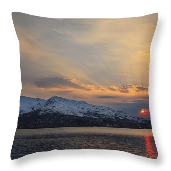 Midnight Sun Over Tjeldsundet Strait Throw Pillow by Arild Heitmann